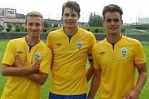 Střelci gólů Benešova. Zleva: Pavel Čapek, Jan Zákostelský a Mario Telnar.