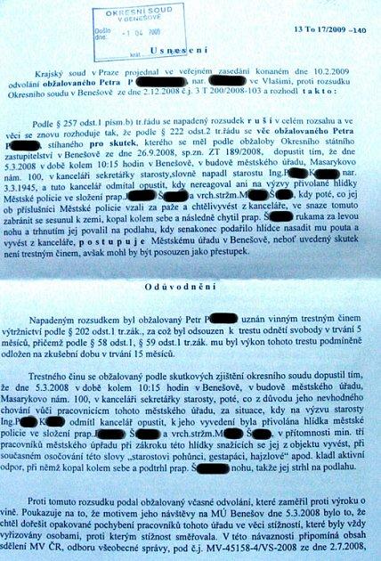 Fotokopie rozsudku krajského soudu