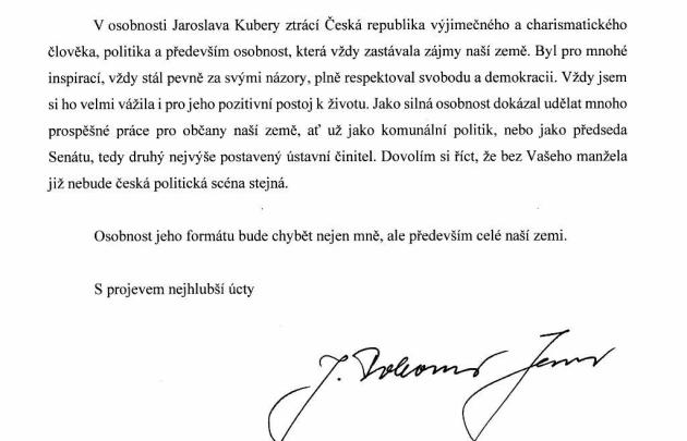 Hejtmanka Středočeského kraje Jaroslava Pokorná Jermanová reagovala na smrt Jaroslava Kubery.