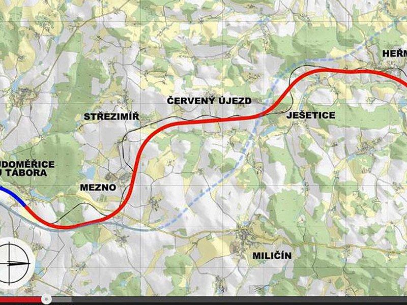 Vizualizace budoucího koridoru mezi Heřmaničkami a Meznem.