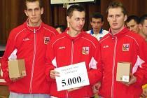Ilustrační foto: Reprezentace ČR skončila bronzová. Zleva Jiří Doubrava (Šacung VHS Benešov), Libor Chytra (Sokol Břve), Jiří Holub (Šacung VHS Benešov)