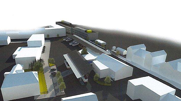 Vizualizace staveb terminálu a parkovacího domu v Benešově.