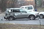 Nehoda na silnici I/3 na benešovských Červených Vršcích.