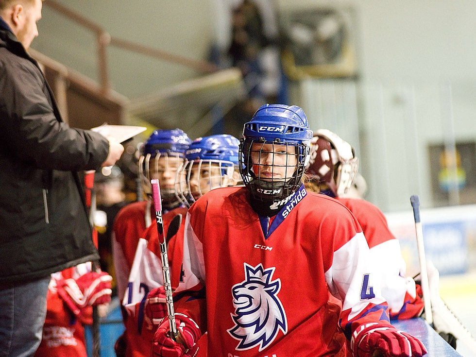 Z mezinárodního hokejového turnaje žen do 16 let v Benešově.