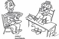 Kreslený vtip Jiřího Cinkeise a 'Kocábky'.
