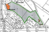 Výřez katastrální mapy se zámkem a parkem v Načeradci.