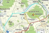Mapka s trasou plánované cyklosezky