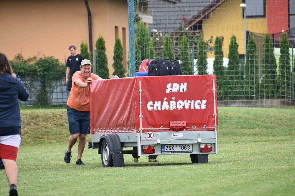 Z prvního kola Benešovské hasičské ligy v Olbramovicích.