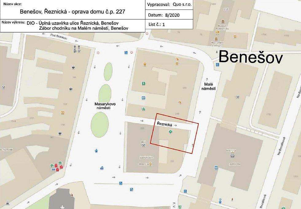 Situační plánek uzavření Řeznické ulice v Benešově.