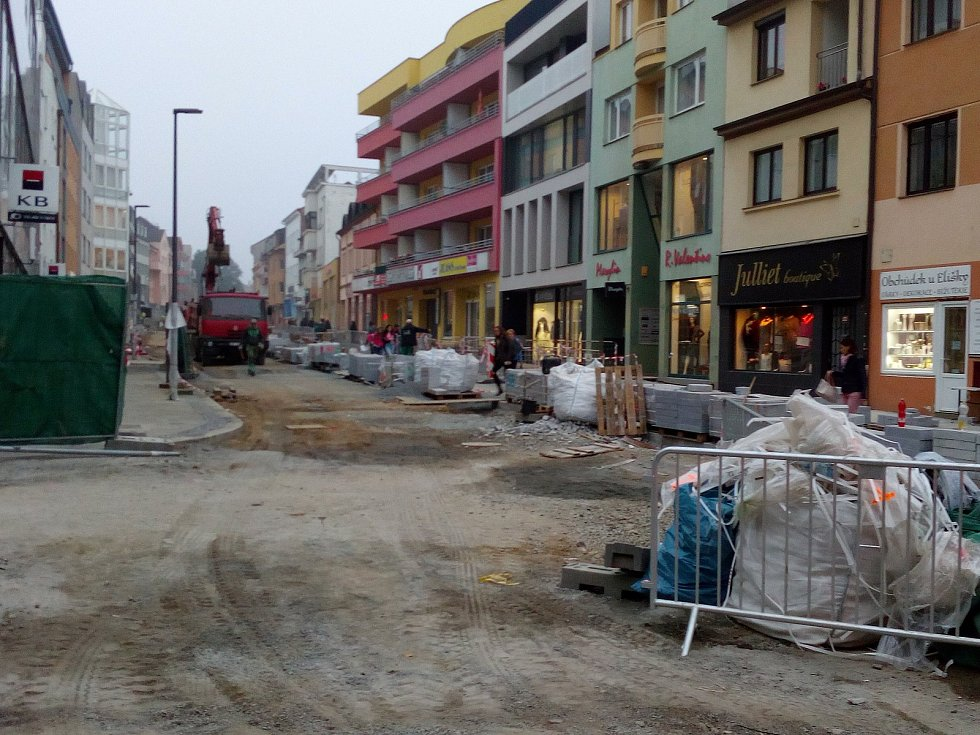 Tyršova ulice na konci října 2018.