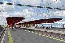 Takhle uvidí cestující v lednu 2016  železniční stanici Praha – Hostivař, kterou budou rychlíky projíždět až 120 km/h.