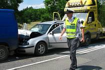 Dopravní nehoda U Topolu v Benešově v úterý 8. června.