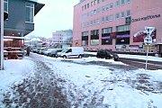 Sníh v Benešově ve čtvrtek 10. ledna 2019 ráno.