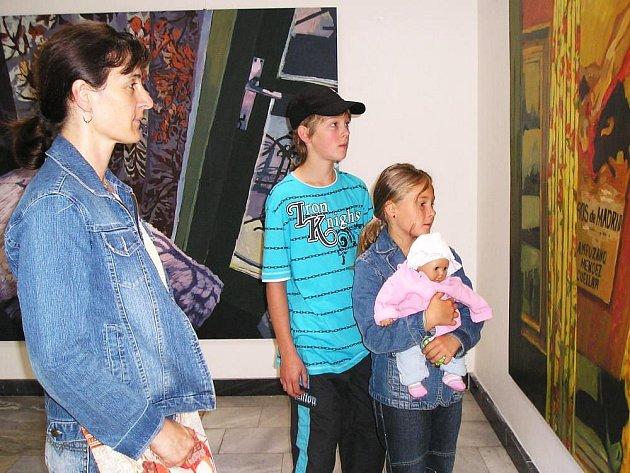 Přesto, že výstava začíná až v úterý 1. července vernisáží, první  návštěvníci si malby prohlédli už v pondělí