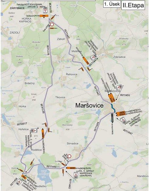 Plánek objížďky kvůli uzavírce silnice vMaršovicích.