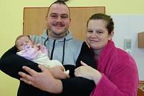 Karolína Hubertová se rodičům Ladislavě a Zdeňkovi Hubertovým z Nespek narodila 8. listopadu 2019 v 17.29 hodin. Vážila 3150 gramů a měřila 52 centimetrů.