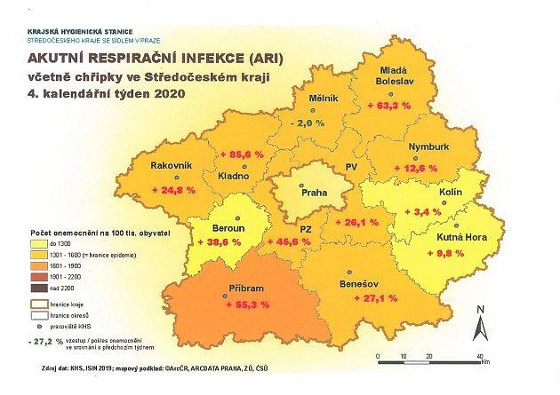Mapka snemocností ve středních Čechách ve 4.týdnu roku 2020.