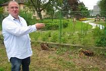 Ředitel MSZ Benešov Petr Kotouč ukazuje, kam přijdou vysadit rychle rostoucí keře.