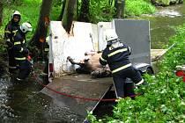Votičtí hasiči u  Bučovic úspěšně vyprostili koně ze zdemolovaného přívěsného vozíku.