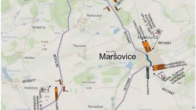 Plánek objížďky kvůli uzavírce silnice v Maršovicích.