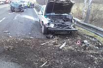 Dopravní nehoda na silnici I/3 u Nespek v pondělí 4. března 2019.