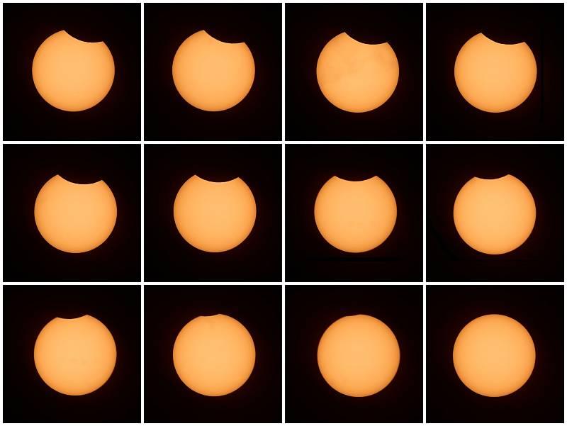 Průběh částečného zatmění Slunce.