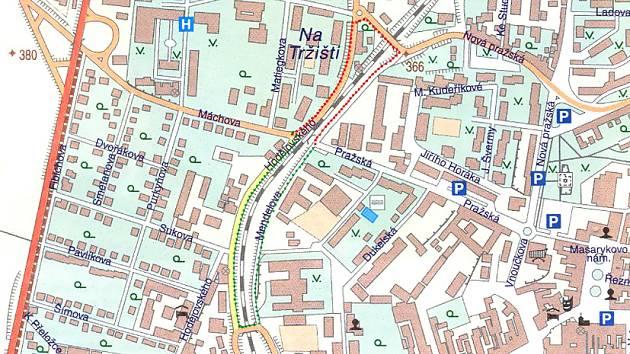 Plánek tras určených pro obcházku uzavřeného podchodu.