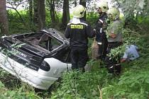 Renault skončil v lese u Dalešic