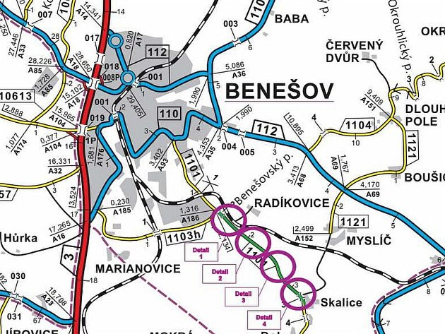 Situační plánek prací při opravě silnice od Radíkovic po Skalici.