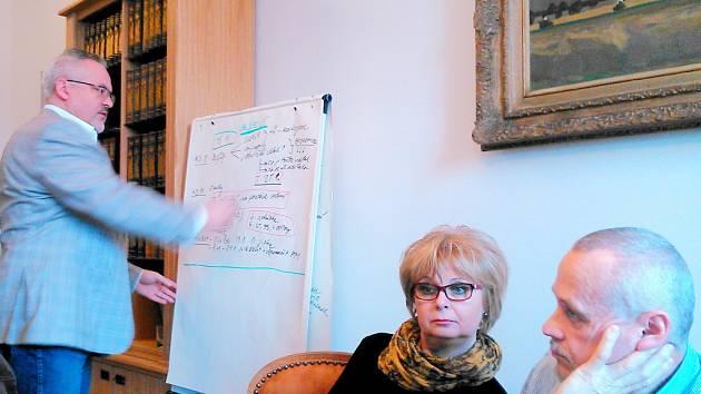Tajemnice MěÚ Benešov Miluše Stibůrková při tiskovce radnice. Vlevo je starosta Petr Hostek, vpravo zastupitel Ivan Cinka.
