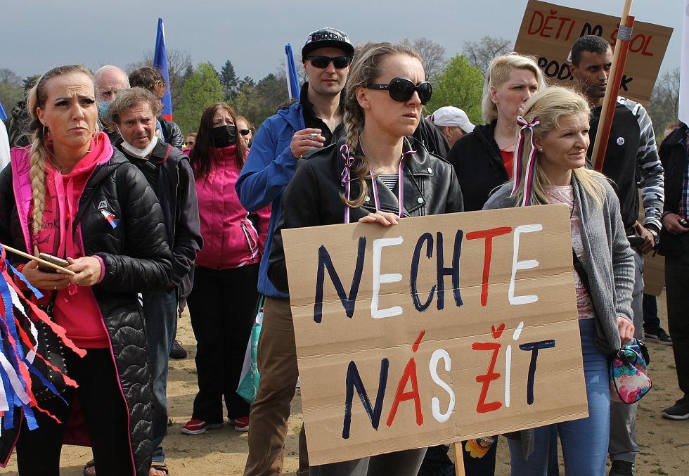 Protestní demonstrace Stop pokusům na dětech v Praze na Letné 1. května.