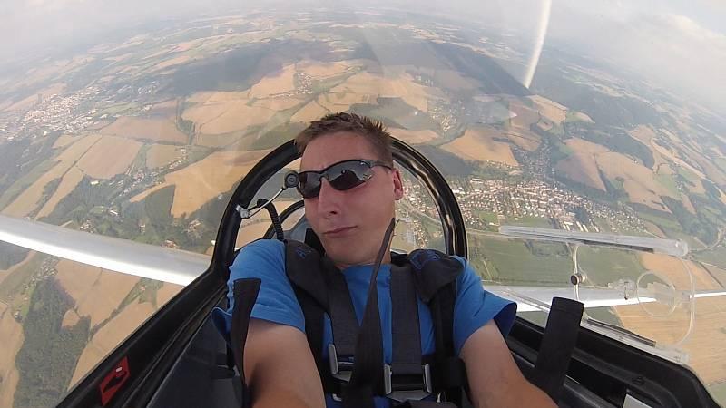 David Beneš, dvojnásobný mistr republiky v bezmotorovém létání.
