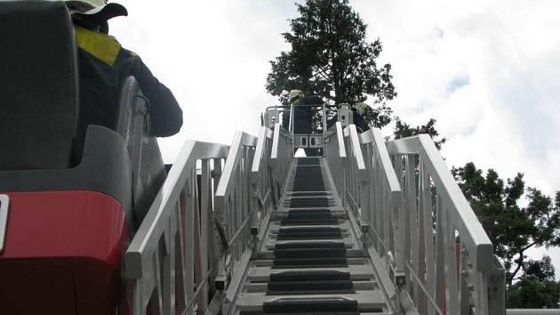 I profesionální hasiči museli vyjíždět k následkům vichřice. V Sukově ulici likvidovali strom s poškozeným kmenem