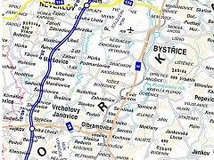 Trasa dálnice D3 na Vrchtojanovicku.