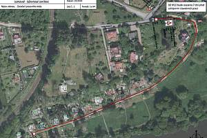 Plánek s vyznačením uzavírky u chatové osady ve městě Sázavě.