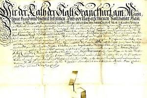 Rodný list Johanna Christopha Haana, vystavený městskou radou ve Frankfurtu nad Mohanem.