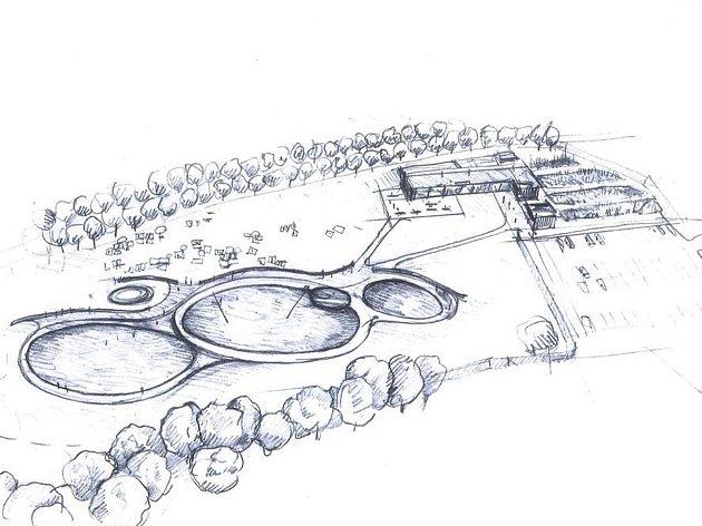 Návrh plánovaného přírodního koupaliště u Votic.