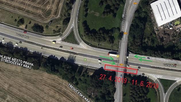 Objížďka D0 Pražský okruh I/3 most Ořech