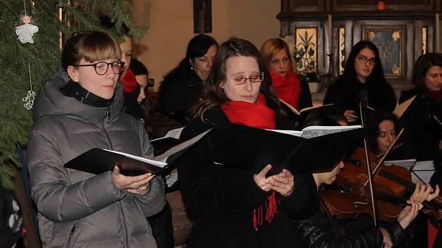Z vánočního koncertu smíšeného sboru Pražští pěvci v kostele Narození Panny Marie.