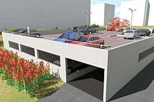 Vizualizace dvoupodlažního parkoviště na sídlišti v okolí Bezručovy ulice v Benešově.