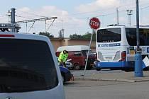 Nehoda na křižovatce Žižkovy ulice a Nádražní v Benešově.