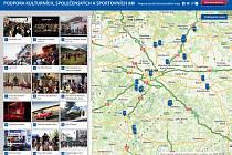 Dotace Středočeského kraje pro velké akce přibližuje mapa.
