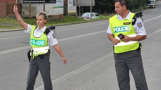 Dopravní policisté při akci.