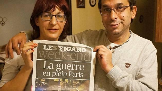 Manželé Fišerovi z Vlašimi s vydáním francouzského deníku Le Figaru.