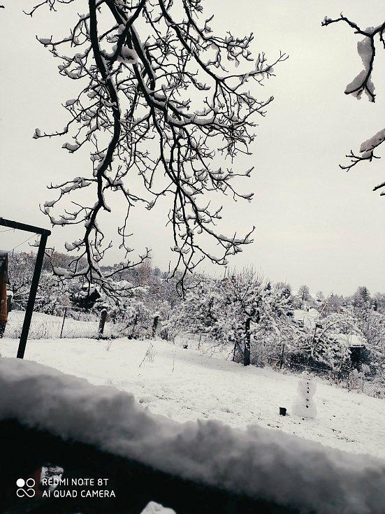 Bohatá sněhová nadílka je i v Bystřici u Benešova. Zaslala Petra Kadlecová.