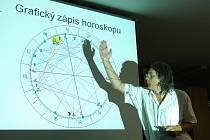 Astrolog Milan Gelnar při besedě v Benešově.