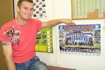 Tady teď budu dávat góly. Miloslav Strnad se nechal v redakci Benešovského deníku zvěčnit před plakátem současného chlebodárce FC Graffinu Vlašim.