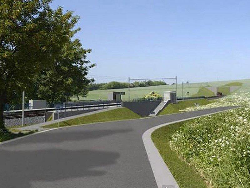 Vizualizace budoucího koridoru mezi Heřmaničkami a Meznem - zastávka Mezno.