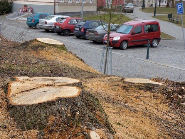 Následky kácení v centru Vlašimi.