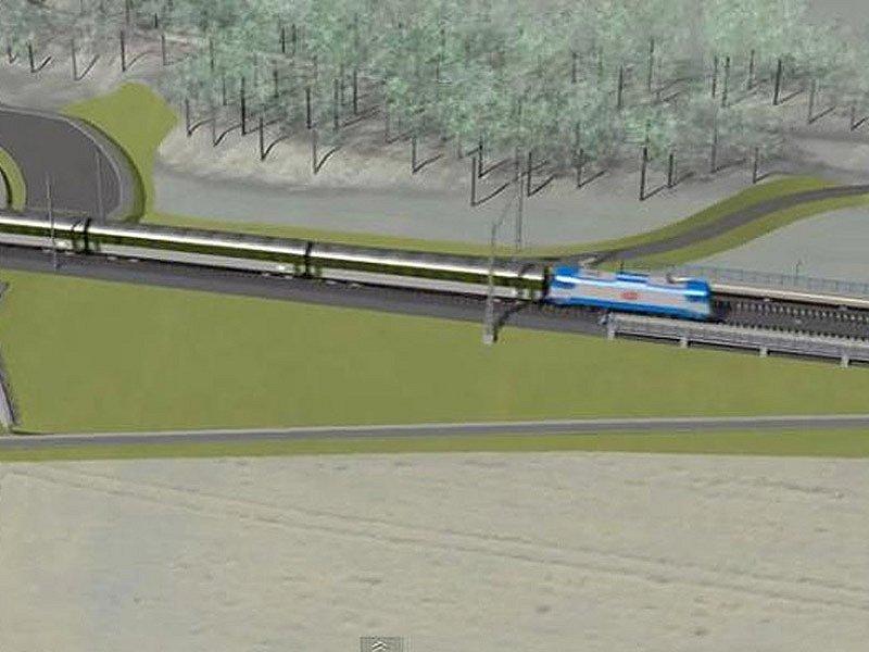 Vizualizace budoucího koridoru mezi Heřmaničkami a Meznem - zastávka Červený Újezd.